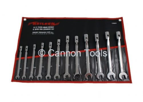 12 Pc Flexi-Head Socket Open End Spanner Set Metric Garage Hand Tool 8 -19Mm